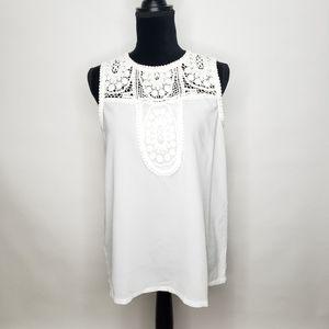 Halogen sheer tank top crochet lace floral detail